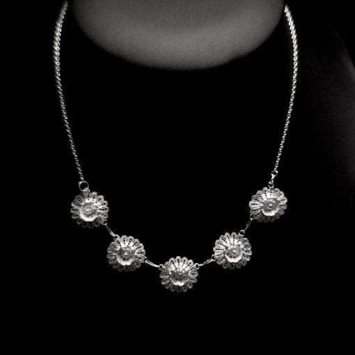 "Handmade Necklace ""Hellebore"" Filigree Silver Jewelry from Cyprus"
