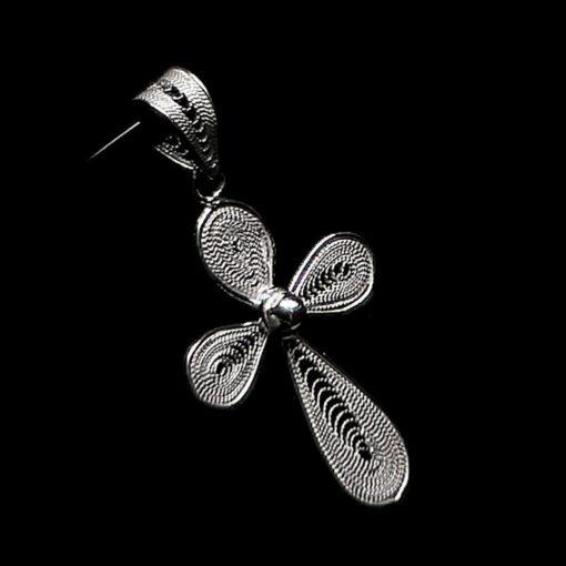"Handmade Pendant ""Cross"" Filigree Silver Jewelry from Cyprus"