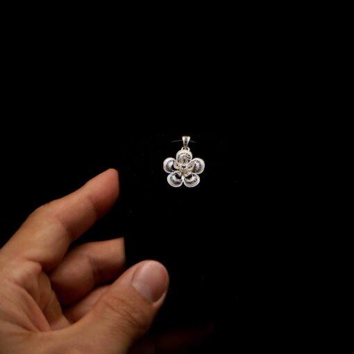 "Handmade Pendant ""Magnolia"" Filigree Silver Jewelry from Cyprus"