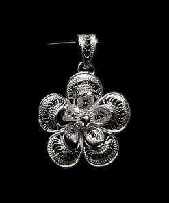 "Handmade Pendant ""Magnolia"" Filigree Silver Jewelry from Cyprus"