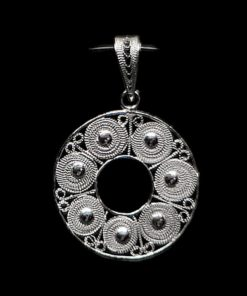 "Handmade Pendant ""Accretion"" Filigree Silver Jewelry from Cyprus"