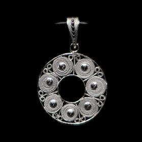 "Handmade Pendant ""Accretion"" Filigree Silver Jewelry from Cyprus"