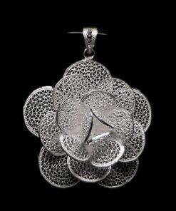 "Handmade Pendant ""Marigold"" Filigree Silver Jewelry from Cyprus"