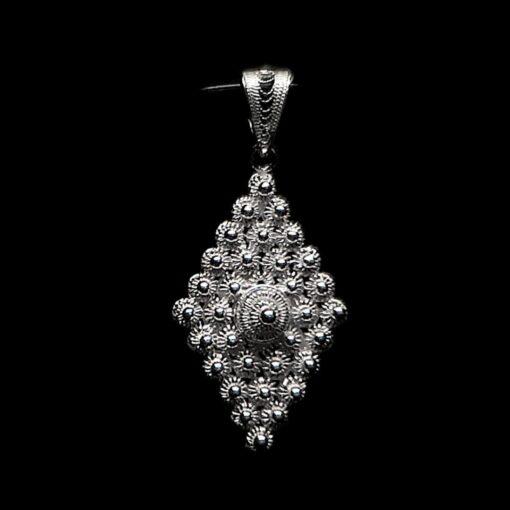 "Handmade Pendant ""Diamond"" Filigree Silver Jewelry from Cyprus"