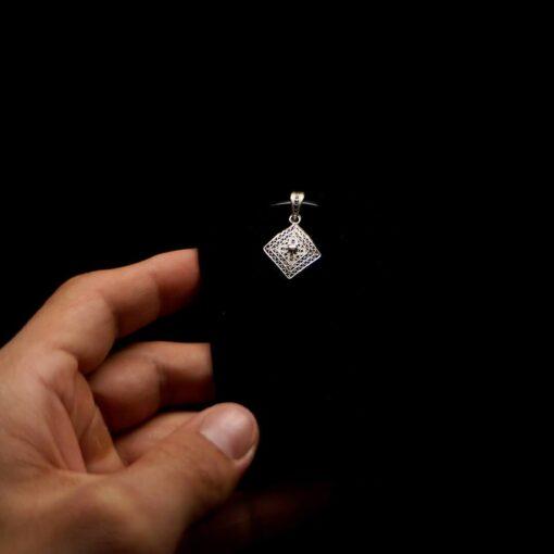 "Handmade Pendant ""Balance"" Filigree Silver Jewelry from Cyprus"