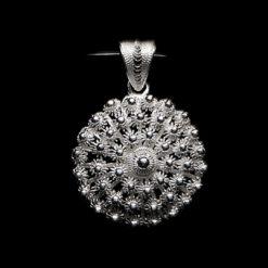 "Handmade Pendant ""Dahlia "" Medium Filigree Silver Jewelry from Cyprus"