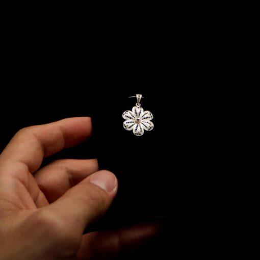 "Handmade Pendant ""Hepatica"" Filigree Silver Jewelry from Cyprus"