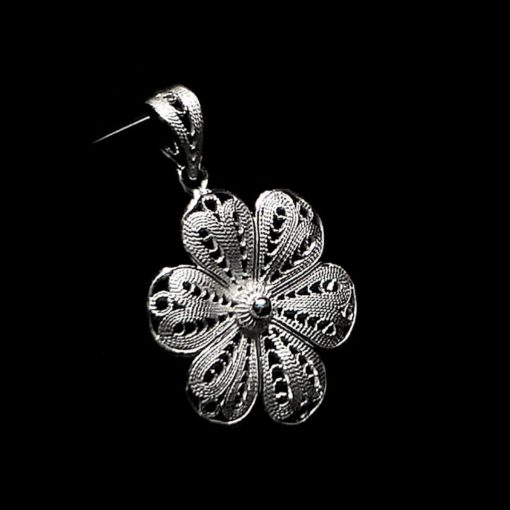 "Handmade Pendant ""Hepatica"" Filigree Silver Jewelry from Cyprus"