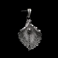 "Handmade Pendant ""Virgin Lotus"" Filigree Silver Jewelry from Cyprus"