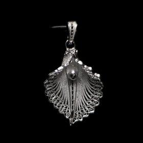 "Handmade Pendant ""Virgin Lotus"" Filigree Silver Jewelry from Cyprus"
