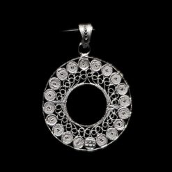 "Handmade Pendant ""Accretion Full"" Filigree Silver Jewelry from Cyprus"