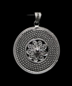 "Handmade Pendant ""Cosmos"" Filigree Silver Jewelry from Cyprus"