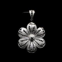 "Handmade Pendant ""Petunia"" Filigree Silver Jewelry from Cyprus"