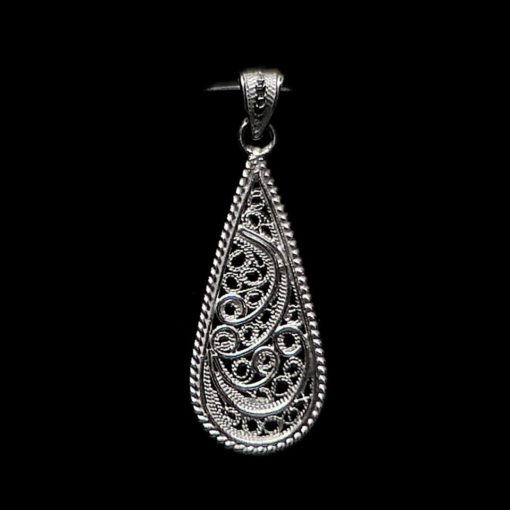 "Handmade Pendant ""Droplet"" Filigree Silver Jewelry from Cyprus"