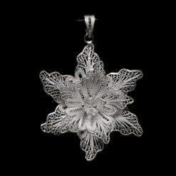 "Handmade Pendant ""Aechmea"" Filigree Silver Jewelry from Cyprus"