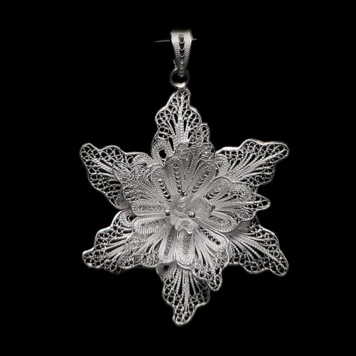 "Handmade Pendant ""Aechmea"" Filigree Silver Jewelry from Cyprus"