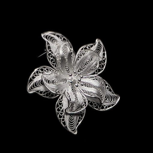 "Handmade Pendant ""Anemone"" Filigree Silver Jewelry from Cyprus"