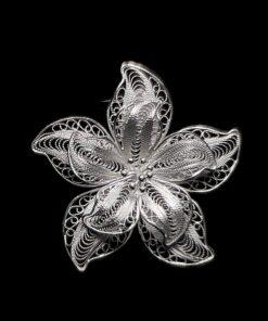 "Handmade Pendant ""Anemone"" Filigree Silver Jewelry from Cyprus"