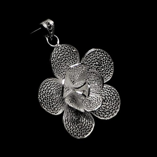"Handmade Pendant ""Lily"" Filigree Silver Jewelry from Cyprus"