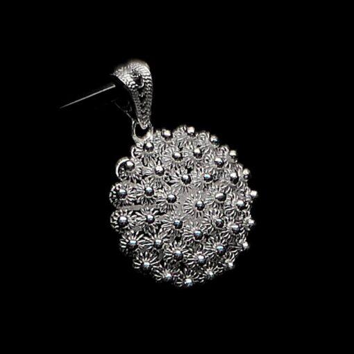 "Handmade Pendant ""Dahlia "" Small Filigree Silver Jewelry from Cyprus"