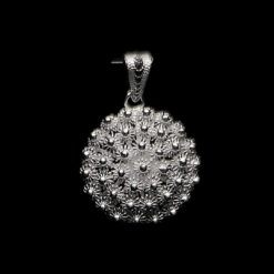 "Handmade Pendant ""Dahlia "" Small Filigree Silver Jewelry from Cyprus"