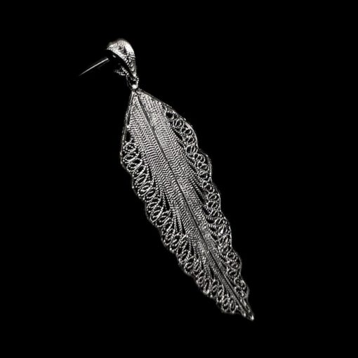 "Handmade Pendant ""Wing"" Filigree Silver Jewelry from Cyprus"