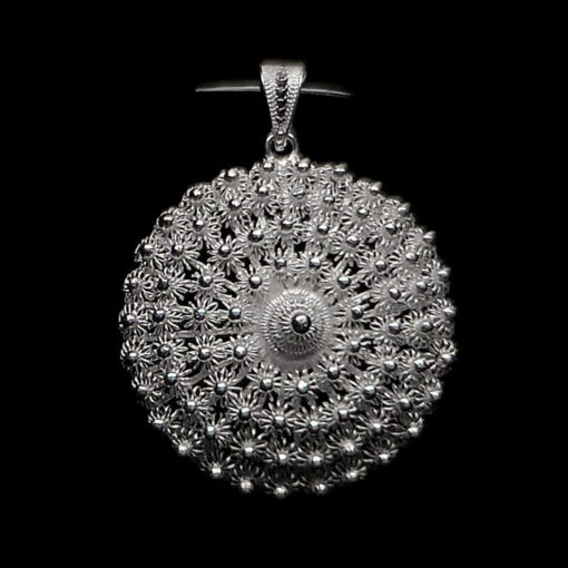 "Handmade Pendant ""Dahlia "" Large Filigree Silver Jewelry from Cyprus"