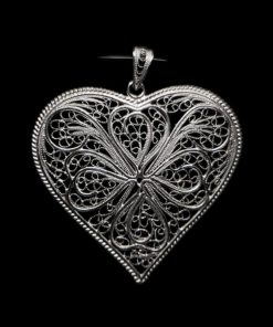 "Handmade Pendant ""Heart"" Filigree Silver Jewelry from Cyprus"