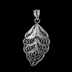 "Handmade Pendant ""Riverleaf"" Filigree Silver Jewelry from Cyprus"