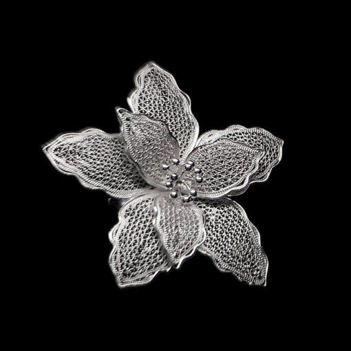 "Handmade Pendant ""Iris"" Filigree Silver Jewelry from Cyprus"