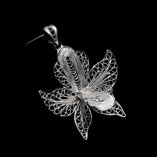 "Handmade Pendant ""Orchid"" Filigree Silver Jewelry from Cyprus"