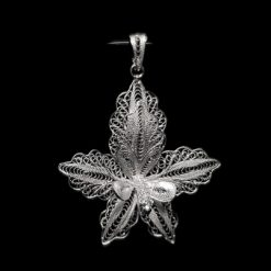 "Handmade Pendant ""Large Orchid"" Filigree Silver Jewelry from Cyprus"