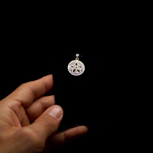 "Handmade Pendant ""Shiny Star"" Filigree Silver Jewelry from Cyprus"