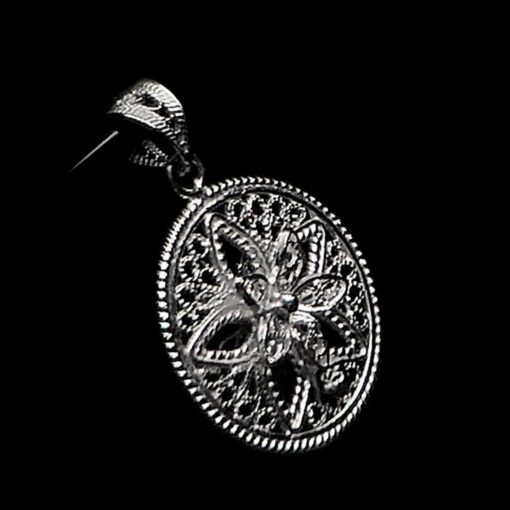 "Handmade Pendant ""Shiny Star"" Filigree Silver Jewelry from Cyprus"