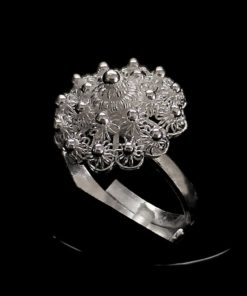 "Handmade Ring ""Poppy"" Filigree Silver Jewelry from Cyprus"