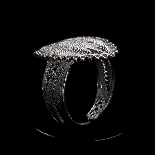 "Handmade Ring ""Ocean"" Filigree Silver Jewelry from Cyprus"