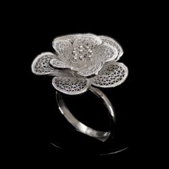 "Handmade Ring ""Petals"" Filigree Silver Jewelry from Cyprus"