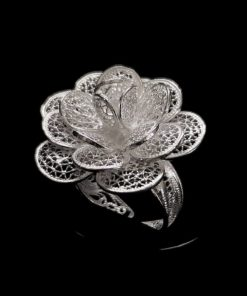 "Handmade Ring ""Blossom"" Filigree Silver Jewelry from Cyprus"