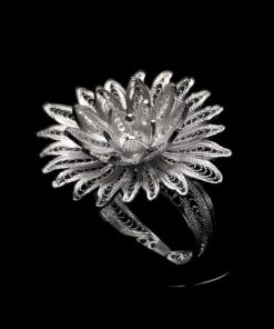 "Handmade Ring ""Cactus Flower"" Filigree Silver Jewelry from Cyprus"