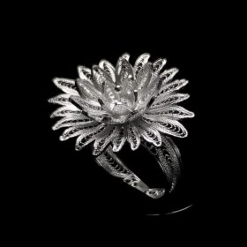"""Handmade Ring """"Cactus Flower"""" Filigree Silver Jewelry from Cyprus"""