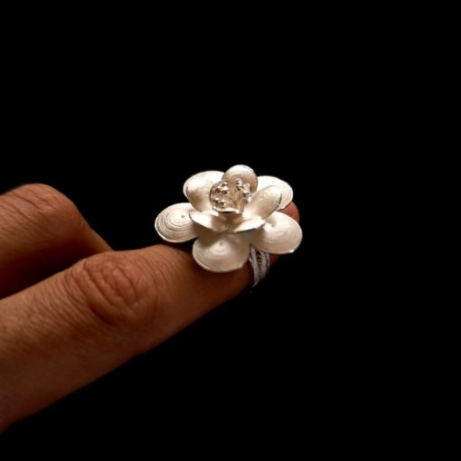 "Handmade Ring ""Regen"" Filigree Silver Jewelry from Cyprus"