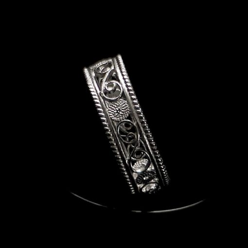 "Handmade Ring ""Timeline"" Filigree Silver Jewelry from Cyprus"