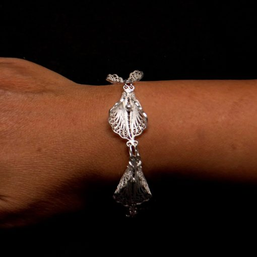 "Handmade Full Set  ""Virgin Lotus"" (including bracelet) Filigree Silver Jewelry from Cyprus"