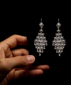 "Handmade Set ""Diamond"" Filigree Silver Jewelry from Cyprus"