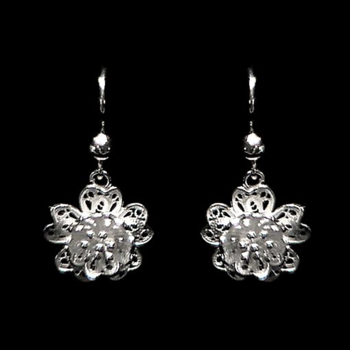 "Handmade Set ""Anemone"" Filigree Silver Jewelry from Cyprus"