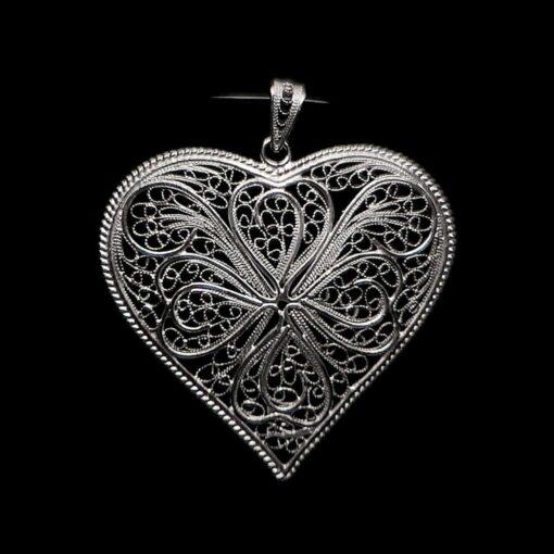 "Handmade Set ""Heart"" Filigree Silver Jewelry from Cyprus"