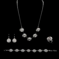 "Handmade Set ""Hellebore"" Filigree Silver Jewelry from Cyprus"