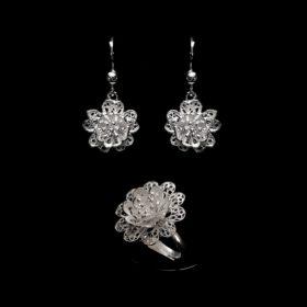 "Handmade Set ""Anemone"" Filigree Silver Jewelry from Cyprus"