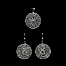 "Handmade Set ""Cosmos"" Filigree Silver Jewelry from Cyprus"