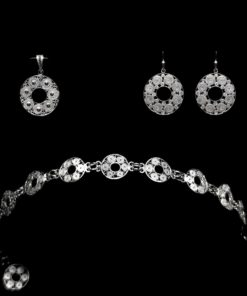 "Handmade Set ""Accretion"" Filigree Silver Jewelry from Cyprus"